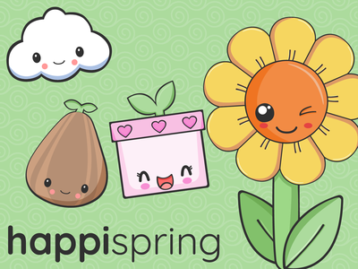Happi Spring Kawaii Cute Characters characters flowers plants cute illustration vector illustrator