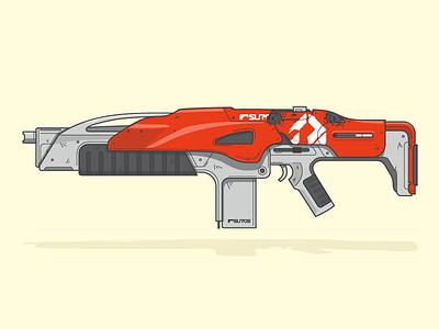 ((GENESIS CHAIN~)) wotm line art illustration vector auto rifle weapon destiny