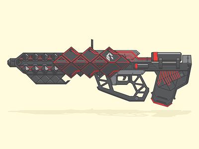 Outbreak Prime wotm line art illustration vector pulse rifle weapon destiny