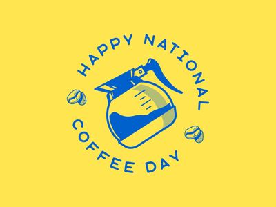 National Coffee Day blue icon coffee illustration vector