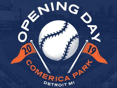 Opening Day 2019 illustration opening day baseball tigers detroit