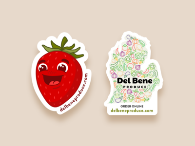 Del Bene Stickers character strawberry food pattern vector illustration stickers