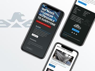 AmeriTi Website responsive website branding ui manufacturing titanium website mobile web design web design