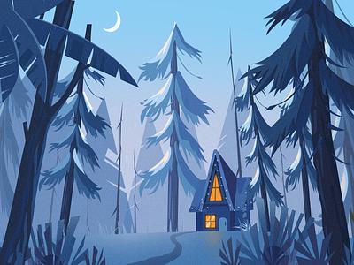 Forest cottage ui design illustration