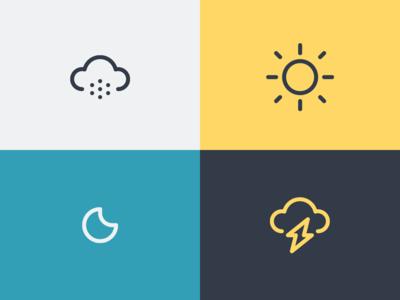 Weather forecast season lightning logo symbol iconography icon weather moon sun cloud snow