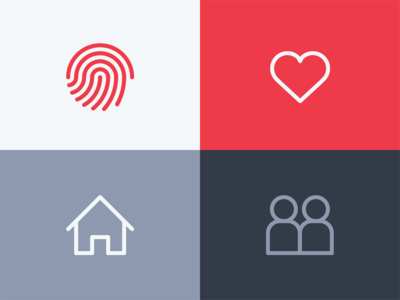 People finger print like iconography icon friends heart people house home love id touch