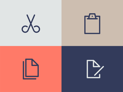 Actions document clipboard action symbol iconography icon save delete edit paste copy cut