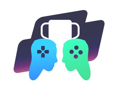 Esports contests podium illustration winning trophy head controller games gaming esports logo icon