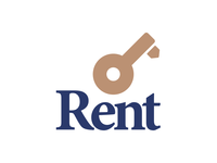 Rent logo concept animated unlock search rent real estate magnifying glass logo lock key house home brand