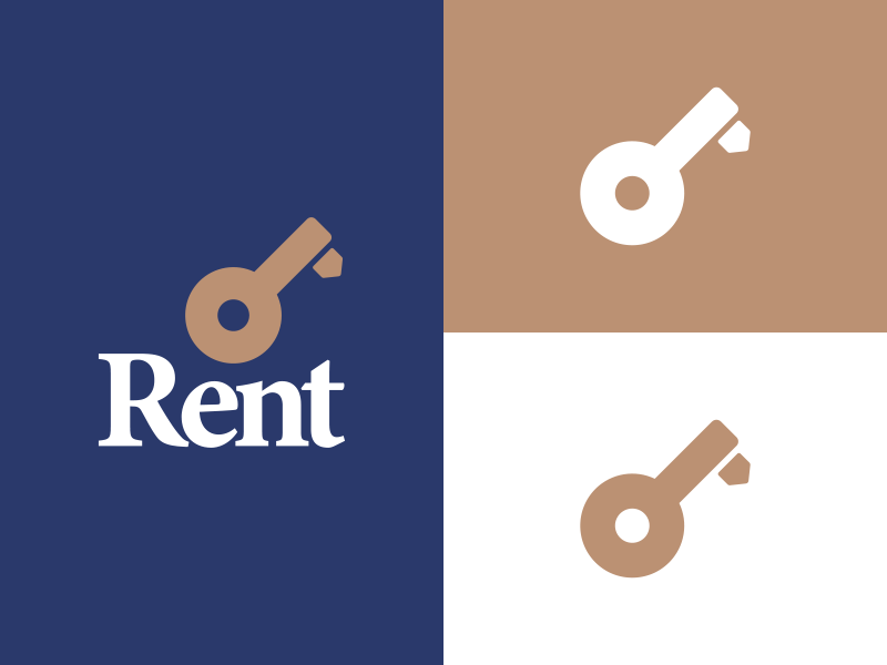 Rent logo colours unlock search rent real estate magnifying glass lock key house home logo brand animated
