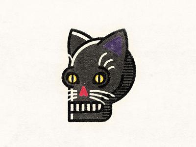 Black Skat nyan meow cat black cat skulltober skull a day halloween skull