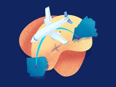 Flying Home arkansas maine flight perspective procreate vector vacation plane illustration
