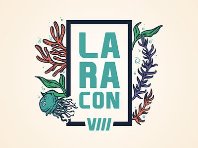 Laracon VIII Logo illustration php brand design brand badgedesign badge blue kelp jellyfish aquarium water underwater branding logo