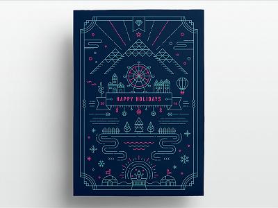 2014 Holiday Greeting Card christmas xmas holiday greeting card graphic design winter line art icon illustration flat village print