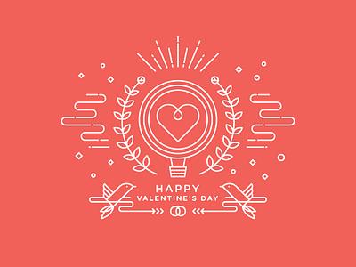 Happy Valentine's Day line art icon valentine heart love bird laurel ballon romantic