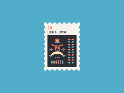 12 Days of Christmas Stamp #10 icon flat illustration lord leap icon set 12 days of christmas stamp xmas christmas icons