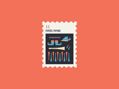 12 Days of Christmas Stamp #11 icon flat illustration music piper icon set 12 days of christmas stamp xmas christmas icons