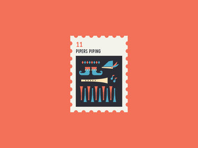 12 Days of Christmas Stamp #11