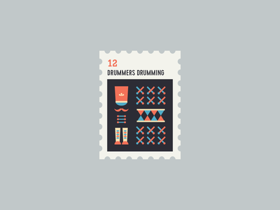 12 Days of Christmas Stamp #12 icon flat illustration drum drummer icon set 12 days of christmas stamp xmas christmas icons