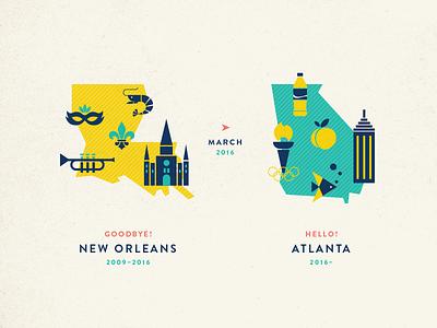 New Orleans to Atlanta trumpet georgia mardi gras peach coke atlanta new orleans illustration graphic design map icons