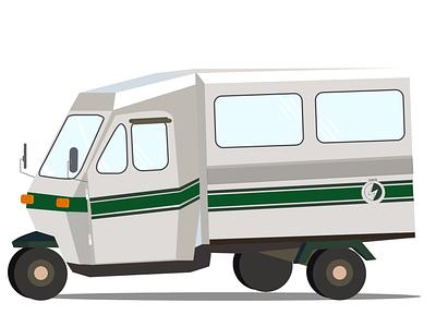 Safa Tempo tuk tuk tuktuk flat nepali icon design illustration