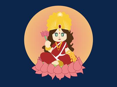 Laxmi illustration nepali design god goddess cute laxmi laxmi illustration festival of lights illustrator diwali dipawali tihar