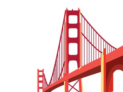 Bridge Dribbble flatdesign san francisco cities icons