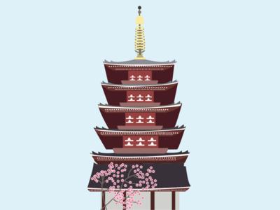 Tokyo Sensoji Temple icon vector illustrator graphicdesign tokyo flatdesign wallart