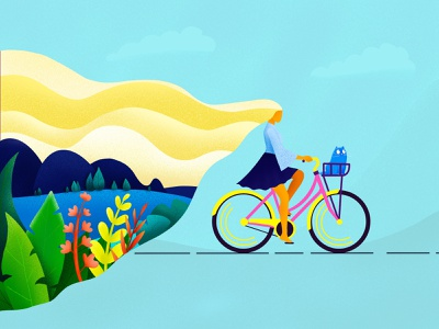 Spring girl cat bicycle colors spring drawing procreate illustration dribbble art design
