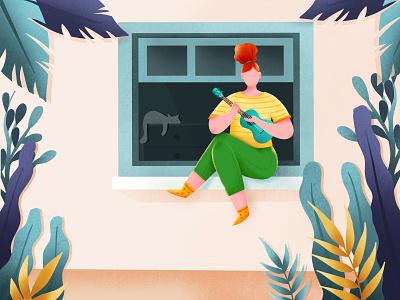 Stay home and play the ukulele drawing girl ukulele stayhome procreate art illustration design