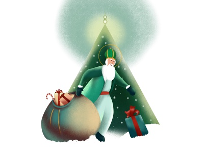 Happy Saint Nicholas Day magic fairytale candy gift bag snow green drawing illustration procreate art brushes lights christmas snowflakes presents gifts tree saint nicholas holidays winter