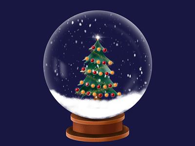Merry Christmas procreate animation winter tree present gifts christmas snowball snowflake snowfall gif illustration art design