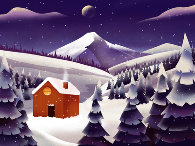 House in the Mountains snowflake moon drawing design illustration mountains winter holidays animation art procreate