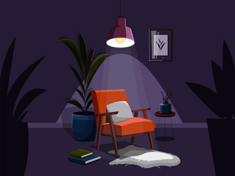 nigth room night armchair lamp light dark room room vector illustration vector design illustration