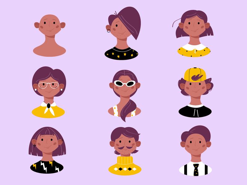 personage illustration 2d character design faces face people illustration people logo vector illustration character illustration cute boys boy personage character vector illustrator color girl illustration