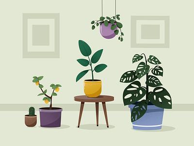 plants lemon flowerpot texture 2d artist 2d art cute home illustration home 2d illustration vector plants illustrator illustration