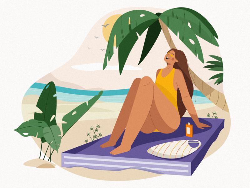 girl on the beach cartoon product 2d art pants palm summer beach texture 2d character 2d personage personage flat illustration illustration 2d character design cute character girl illustrator vector illustration