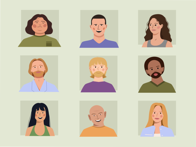 candidates serial people illustration people icons adobe illustrator lost character characterdesign avatardesign avatar icons avatars 2d personage flat 2d artist 2d art personage