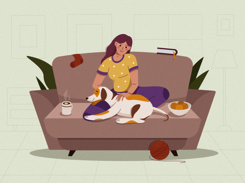 Living Room simple stay home stayhome home puppy living room 2d artist room dog animal people personage character design 2d illustration 2d character cute girl vector