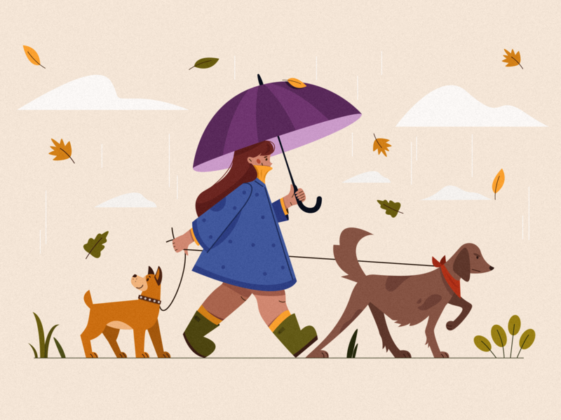 rainy day vector illustration character texture animals illustrated animals 2d personage 2d illustration walking walk autumn rain dog girl people adobe ilustrator