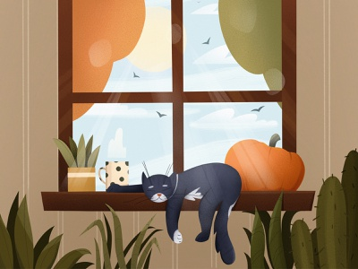 sunny day children book illustration mobile 2d illustration product design person textures product cute sunny room plants autumn october pumpkin cat animals illustrated animals character illustration