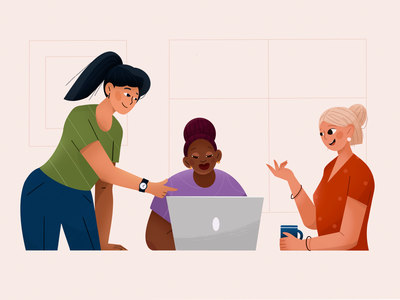 team work people minimal office ios app design mac girl character team work colorful product page mobile branding ui illustration 2d logo design character design personage vector illustration