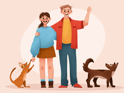 Pets pets children book illustration mobile character design 2d art cute illustration cute animal procreate texture character home family man boy women dog cat animals 2d personage illustration