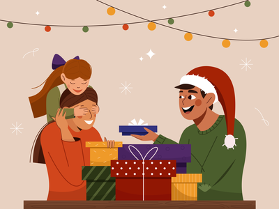 christmas gift holliday illustrator character design smile people illustration surprise personage cute happy presents giftbox gift cristmas new year family product homepage mobile vector illustration 2d