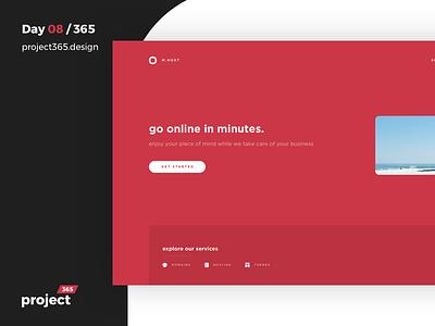 MinimalHost - Concept for Web Hosting   Day 08/365 - Project365 minimal-monday project365 design challenge minimal server webhosting hosting daily-ui clean