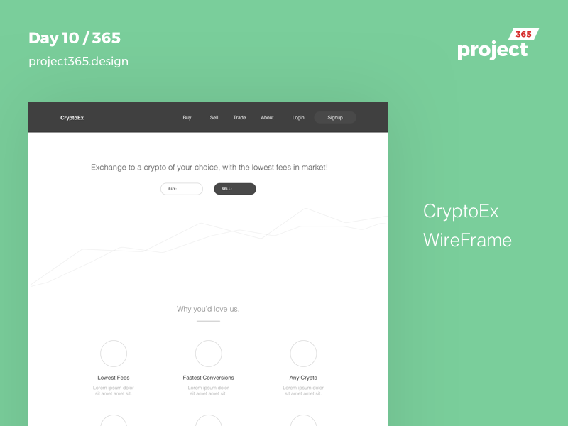 CryptoEx - Wireframe | Day 10/365 - Project365