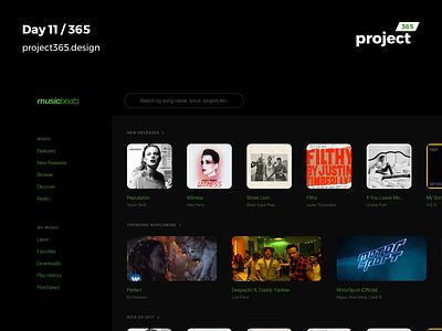 MusicBeats - No White Challenge | Day 11/365 - Project365 disruptive-thursday no-white-design no-white-ui daily-ui challenge design project365