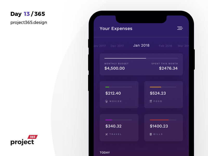 Expense Tracker - Dashboard Mobile App | Day 13/365 - Project365 dashboard-saturday dashboard design-challenge project365 sketch money money-tracker wallet expense-tracker