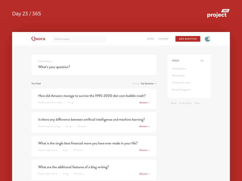 Quora.com Redesign   Day 23/365 - Project365 questions quora quora-redesign redesign design-challenge project365 sketch minimal redesign-tuesday