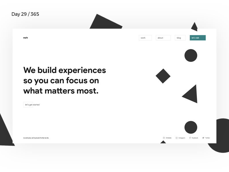 Aqila - Digital Agency Homepage | Day 29/365 - Project365 ui ux branding digital minimal-agency digital-agency minimal-monday design-challenge project365 sketch